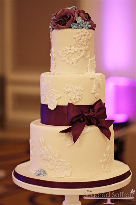 Purple lace cake at The Grand Connaught Rooms   Wedding