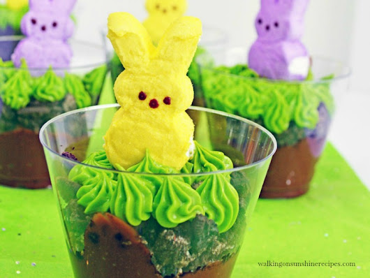 Marshmallow Bunny Peeps Pudding Cups | Dessert Recipe