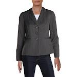 Le Suit Womens Petites Striped Office Three-Button Blazer Gray 4P