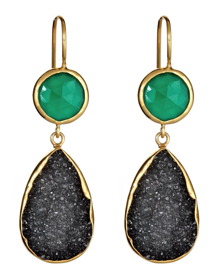 Emerald + black druzy-- so 2013! Margaret Elizabeth 2 Stone Drops Green Onyx & Black Druzy