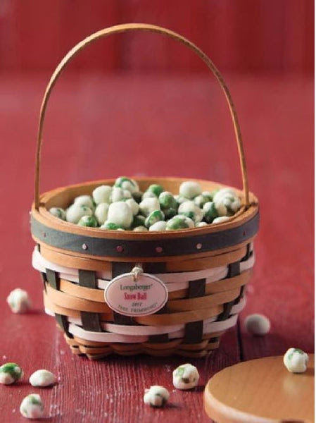 Longaberger 2017 Tree Trimming Snow Ball Christmas Basket & Tie-On - Green