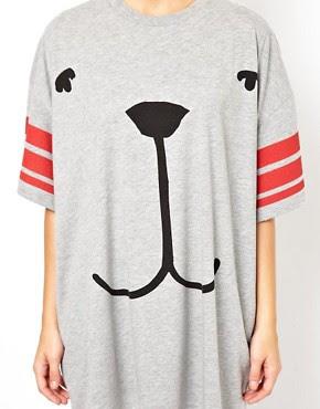 Image 3 ofASOS Oversized T-Shirt with Stripe Sleeve and Dog Face
