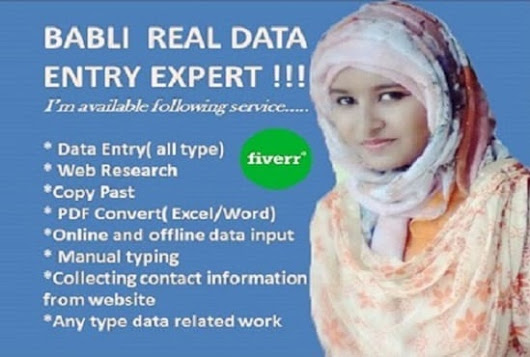 babli124 : I will do  perfect online and offline data entry for $10 on www.fiverr.com