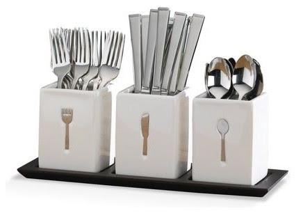 Blakely 36 Piece Flatware Set w/Caddies - contemporary - flatware ...
