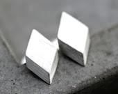 Geometric Modern Post Earrings, Brushed Sterling Silver Diamond Stud Earrings Silver Studs - TheSlyFox