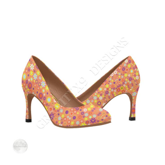 Floral Pattern Living Coral Women's High Heels (Model 048) | Fashion - Footwear