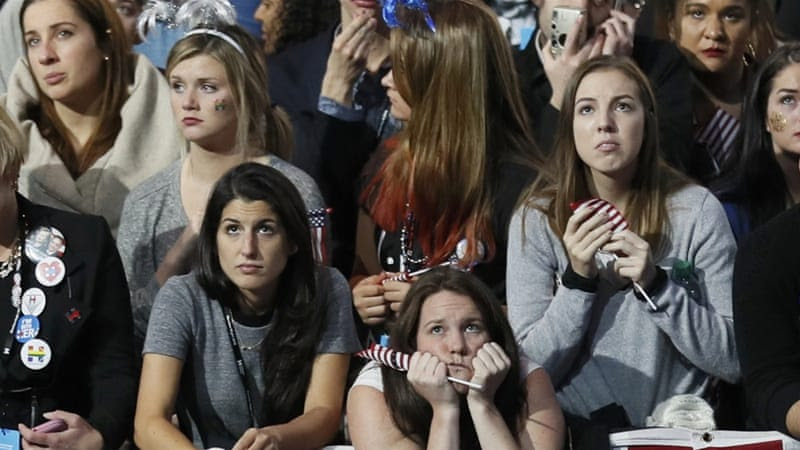 Hillary Clinton supporters watch election returns at the election night rally in New York [Reuters]