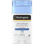 Neutrogena Ultra-Sheer Sunscreen, Face & Body Stick, Broad Spectrum SPF 70 - 1.5 oz