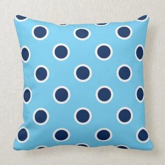 Dark Blue Polka Dots on Sky Blue Pillow