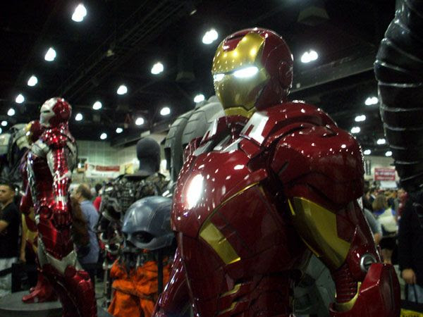 Miniature movie maquettes of IRON MAN—one of Stan Lee's iconic comic book creations—on display at his Comikaze Expo in downtown Los Angeles, on November 2, 2013.