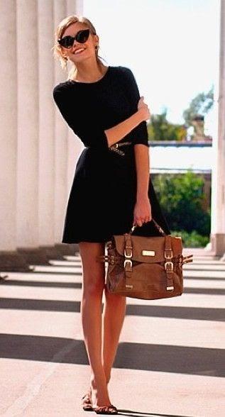Fashion World Black Dress And Chocolate Bag Street Style