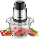Homeleader Electric Food Chopper, 5-Cup Food Processor, 1.2L Glass Bowl Grinder Stainless Steel Motor Unit and 4 Sharp Blades