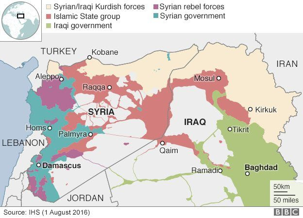 Map of Syria and Iraq showing control by state and non-state armed groups