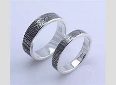 Custom fingerprint wedding/commitment band set with texture