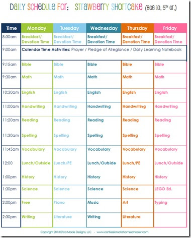 Daily Homeschool Schedule: 5th Grade - Confessions of a Homeschooler