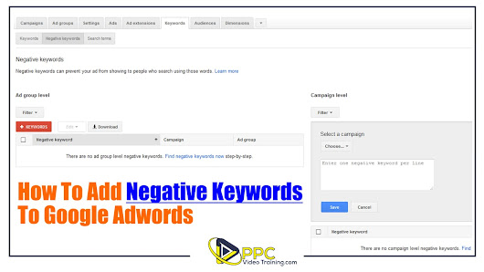 How To Add Negative Keywords to Google Adwords