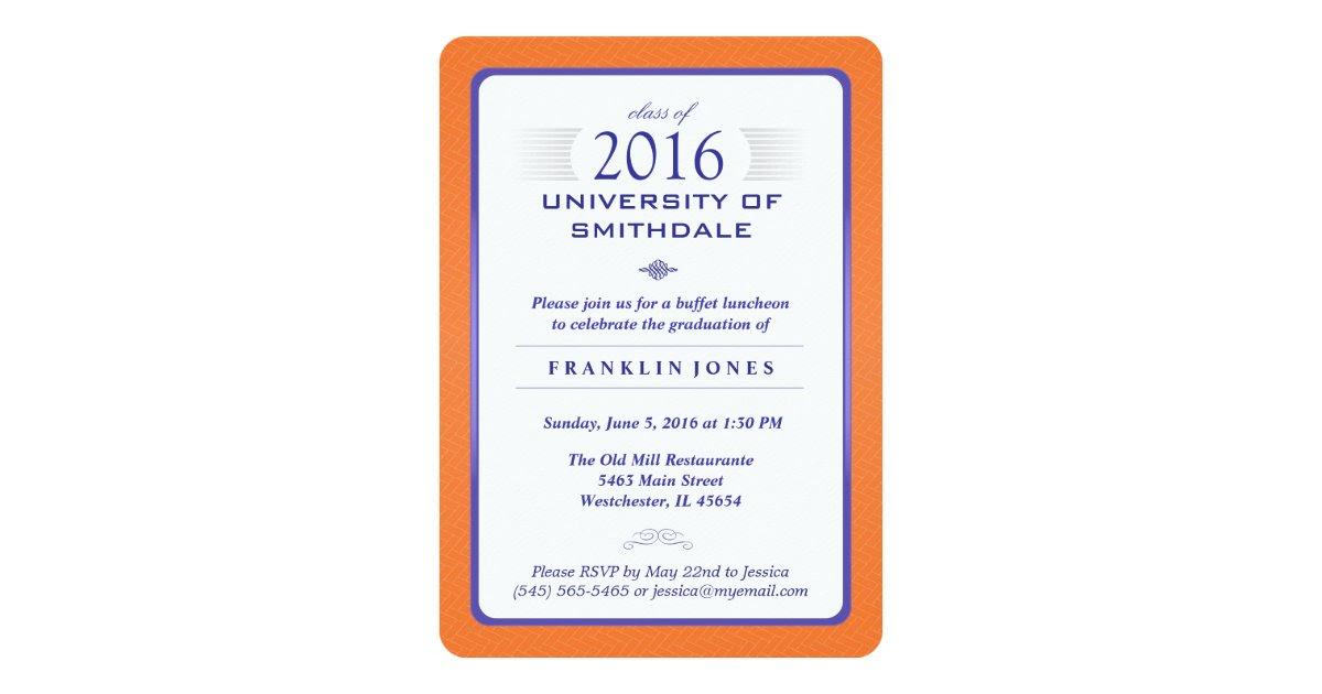 Orange & Blue Formal Graduation Party Invitation  Zazzle