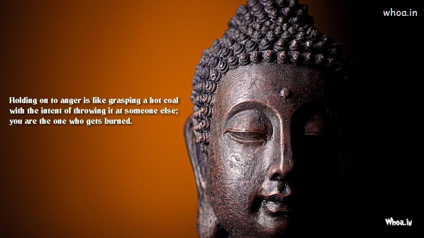 Lord Buddha Quotes With Face Closeup Hd Wallpaper