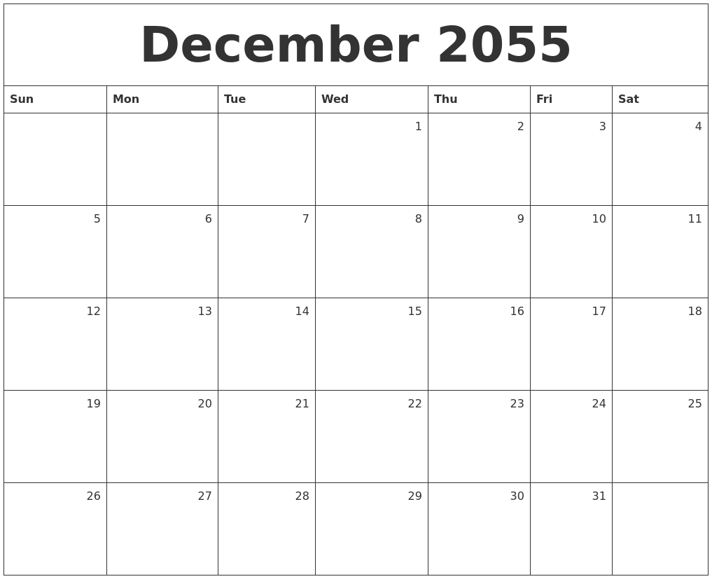 december 2055 monthly calendar