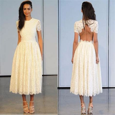 Short Garden Wedding Dresses 2017 Elegant Ivory Lace Jewel