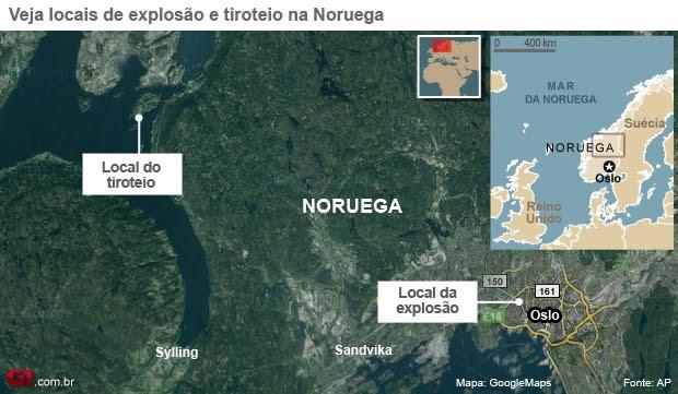 Mapa mostra locais de tiroteio e explosão na Noruega (Foto: Editoria de Arte / G1)
