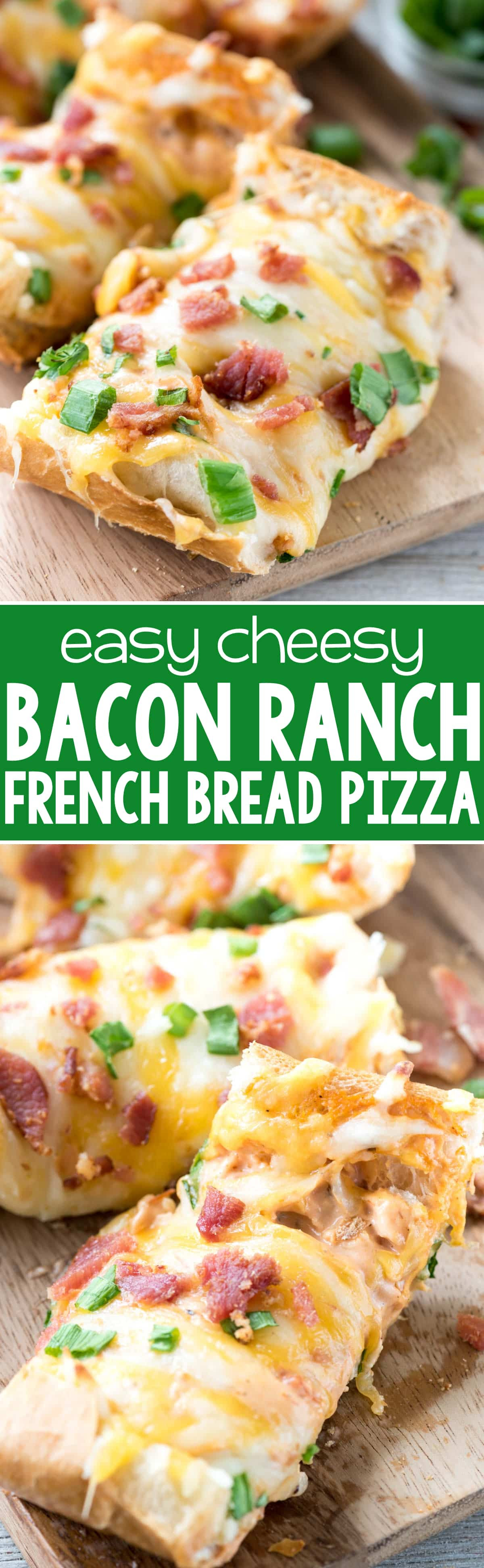 Cheesy Bacon Ranch French Bread Pizza - Crazy for Crust