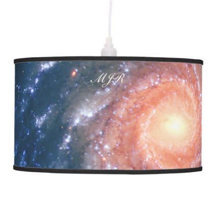 Monogram Spiral Galaxy: Deep space astronomy image Hanging Pendant Lamp