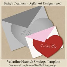 Valentine Heart and Envelope Template-FS-CU-PSD-PNG-Beckys Creations