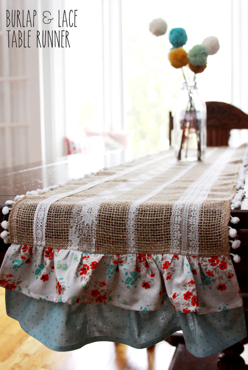 Easy Burlap and Lace Table Runner