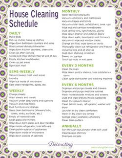 Printable House Cleaning Schedule, chore charts and planners ...