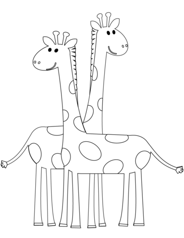 two cartoon giraffes coloring page  free printable