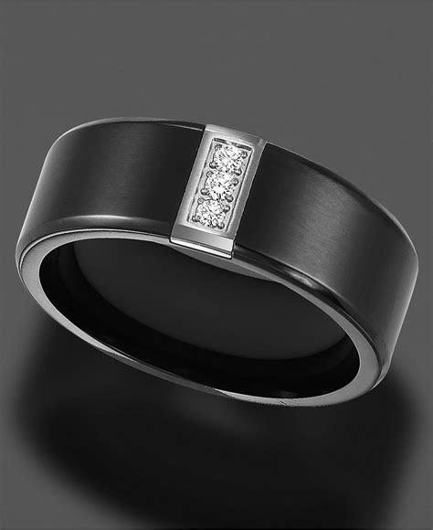 Triton Men's Black Titanium Ring, Diamond Accent Wedding