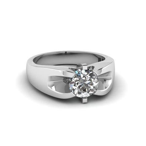 1 Carat Diamond Mens Wedding Ring In 18K White Gold