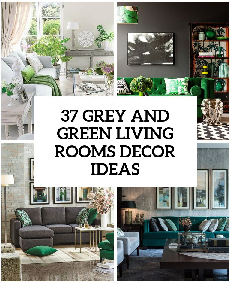 30 Green And Grey Living Room Décor Ideas - DigsDigs