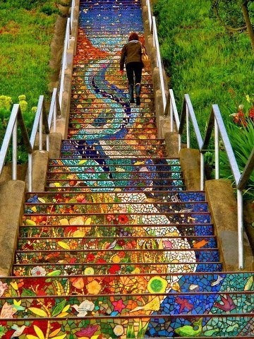 Mosaic tile stairs