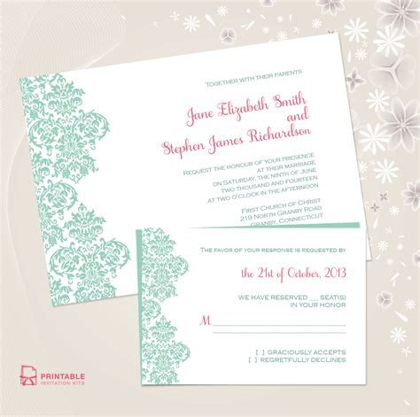 Damask Border Invitation and RSVP Set ? Wedding Invitation