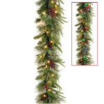 National Tree PECO7-395D-9AB 9 ft. x 10 in. Feel Real Colonial Garland with 15 Pine Cones 15 Red Berries 50 Dual Color Battery Operated LED Light0 wit