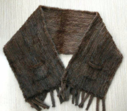Chocolate Brown Mink Scarf with pockets