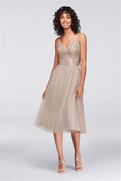 Metallic Lace and Tulle Short Bridesmaid Dress David's