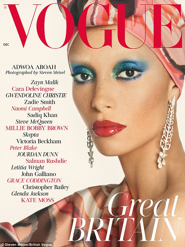 Wow: The striking Seventies-inspired cover, which was revealed on Tuesday, features a close-up of Ghanaian-British model Adwoa in bright blue eye-shadow and a headscarf