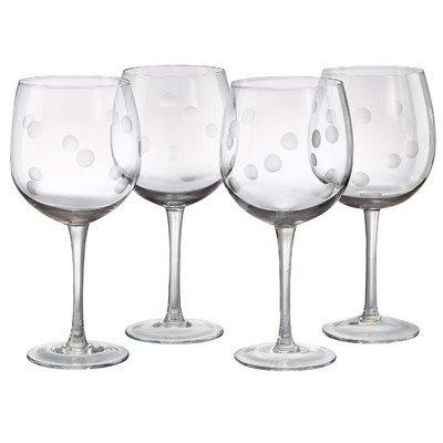 Polka Dot Balloon Wine Glass (Set of 4)