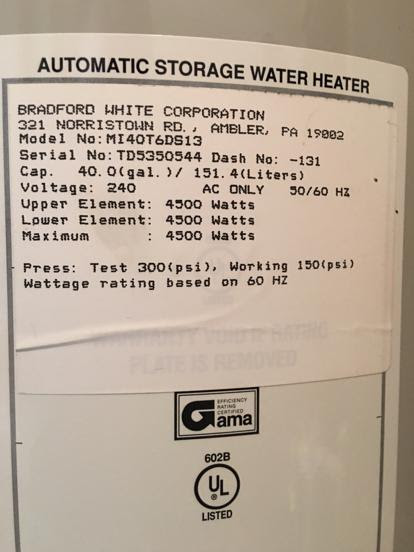 Bradford White Serial Number : bradford, white, serial, number, Bradford, White, Gallon, Electric, Water, Heater, Reviews
