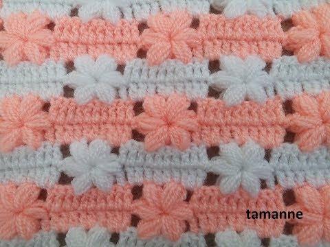 فيديو شرح طريقة عمل غرزة ازهار تصلح لعمل جاكيت بالخطوات كروشية Floral Fibre model crochet كروشيه