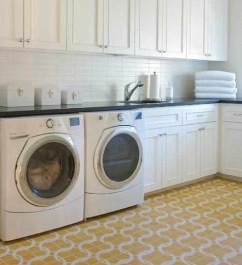 Yellow laundry room flooring design