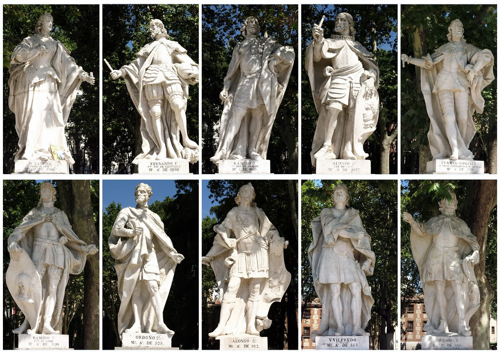 Personajes históricos en el lado Oeste de la Plaza de Oriente