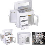 Apluschoice Jewelry Box Case Built-In Mirror Ring Earring Necklace Organizer Storage White