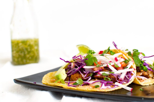 Skillet-Charred Fish Tacos | That Square Plate