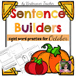 Fall Halloween Sentence Builders {Centers, Word Work, and Daily 5} Kg./1st grade