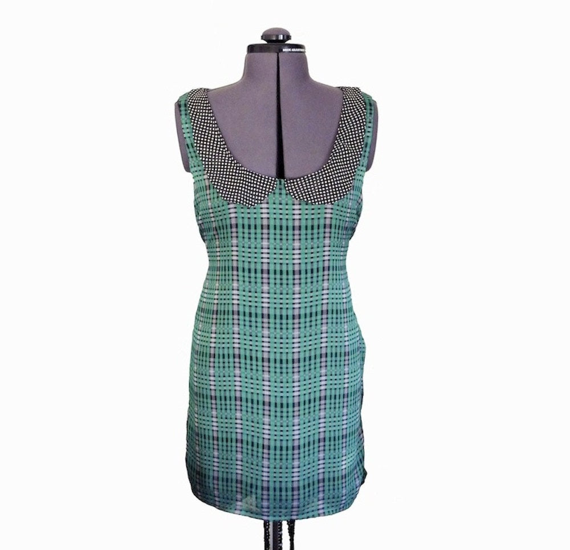 Tartan fully lined chiffon dress