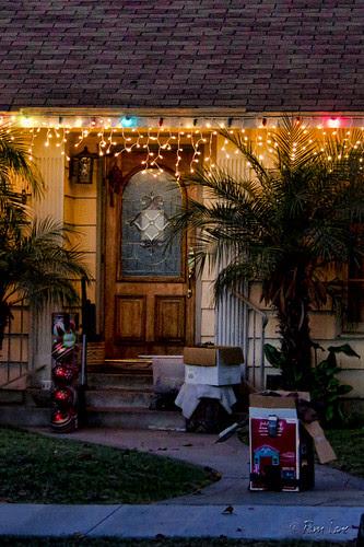 Putting up Christmas lights